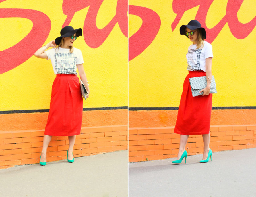 stylemon fashion blog red skirt street style 1