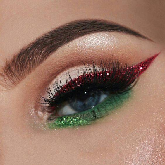 zelene cervene licenie make up oci