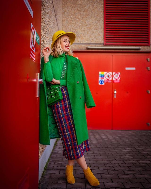 zeleny kabat midi sukna zimny outfit stylemon blogerka